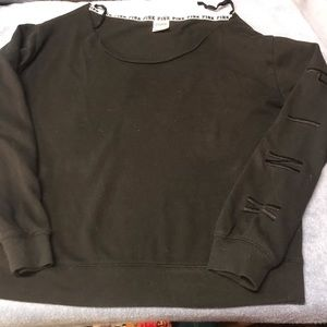 PINK black wide neck sweater